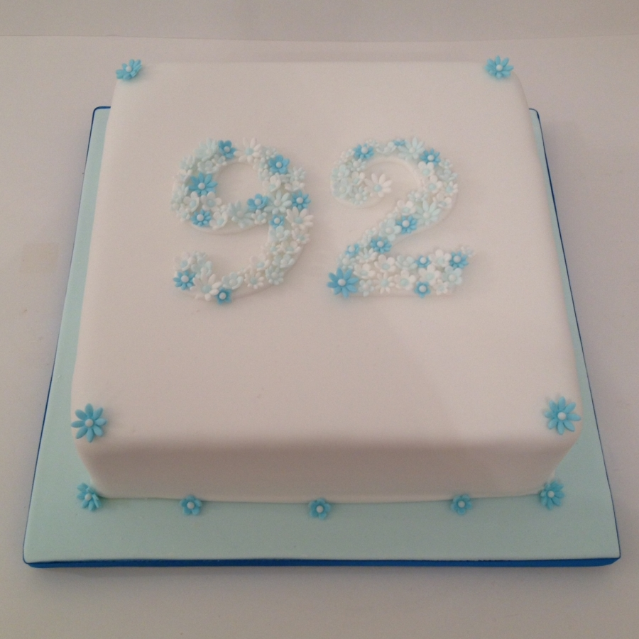 Number birthday cake blue flowers