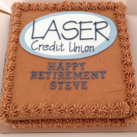 Laser Credit Union retirement cake